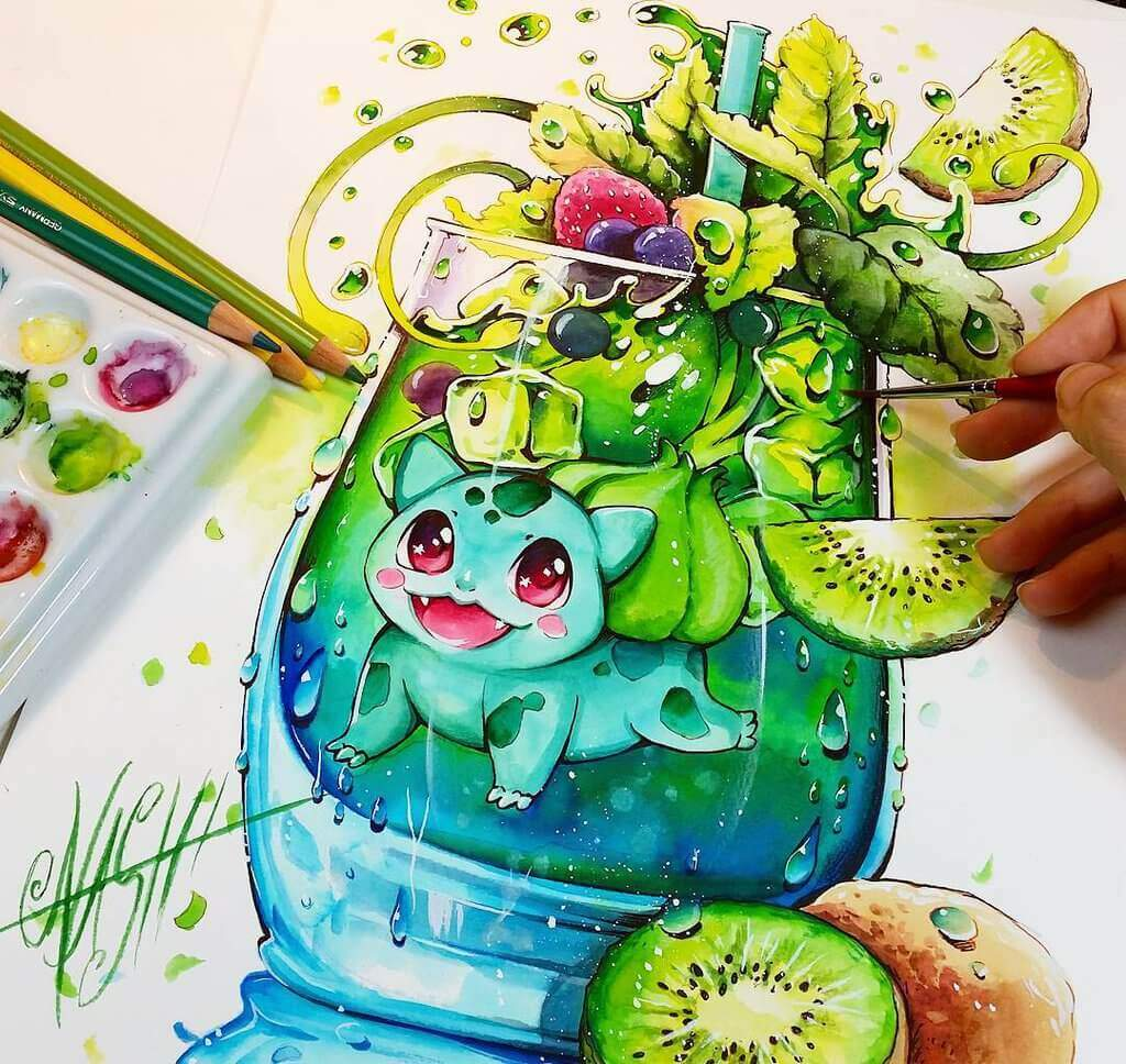 Green spirit bulbasaur by naschi daja1bj