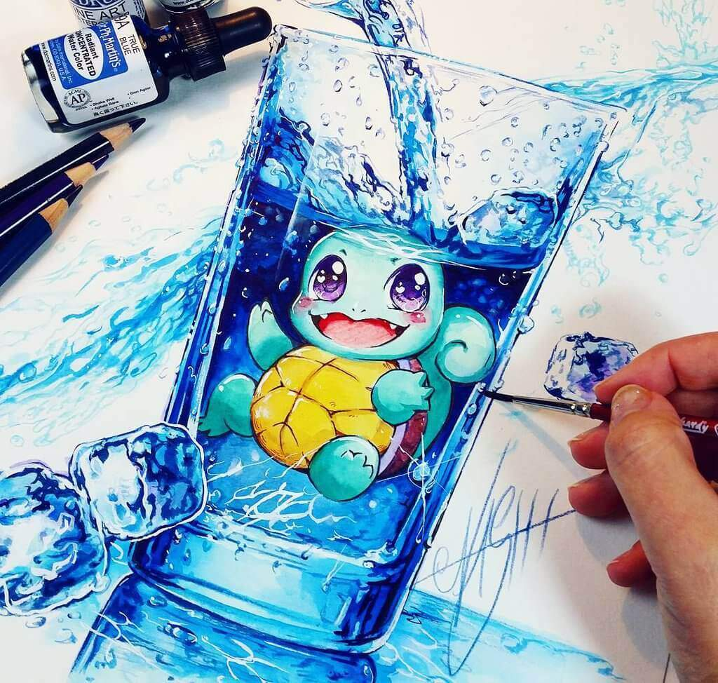 Squirtle water splash by naschi dalj09l