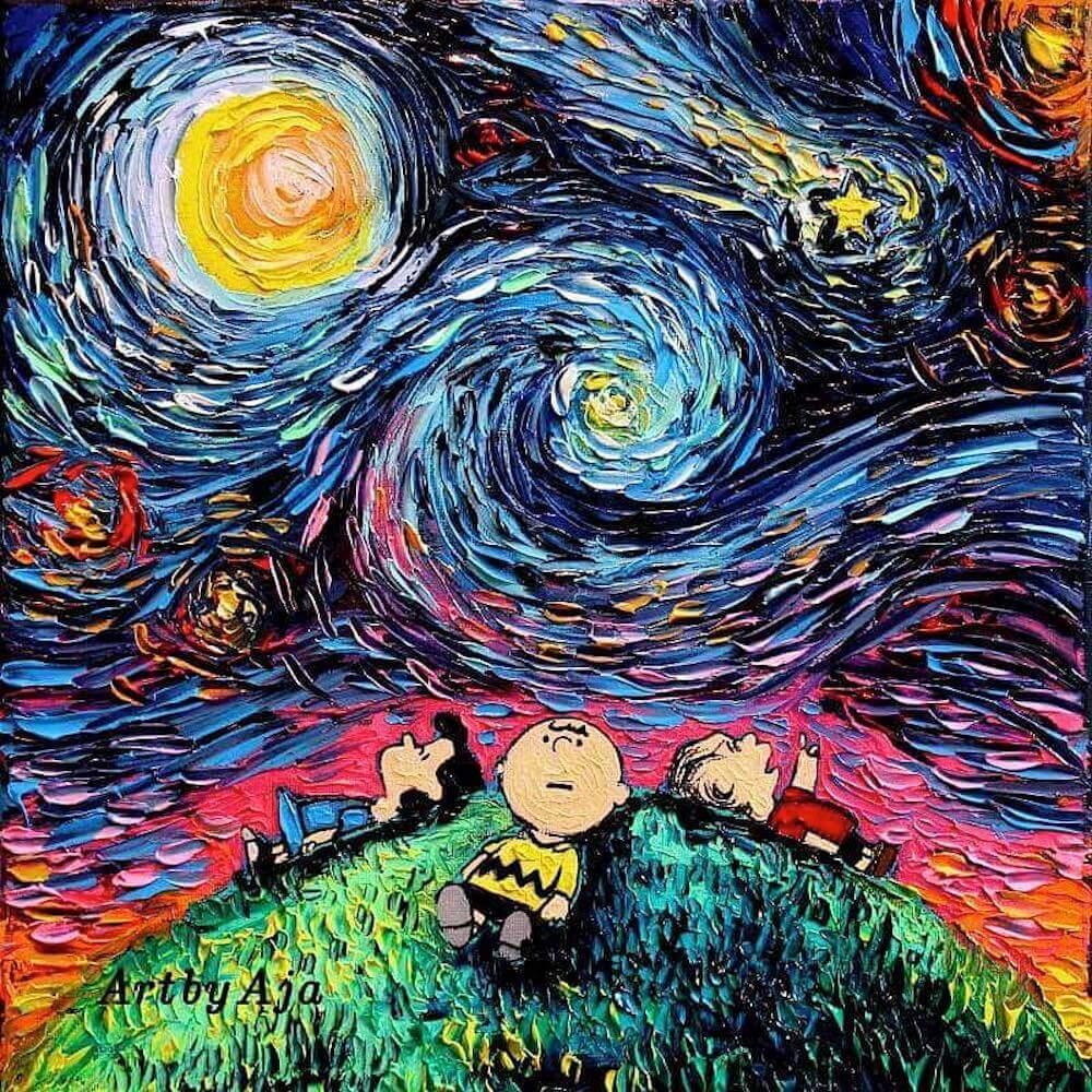 ゴッホ風にポップキャラクターを描くオイルペインティング:Starry Night Pop Culture