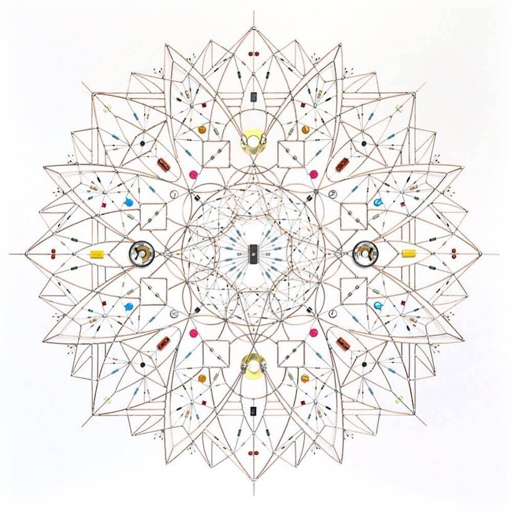 半田やコンデンサー、電子部品で描かれたエレガントなアート:Leonardo Ulian