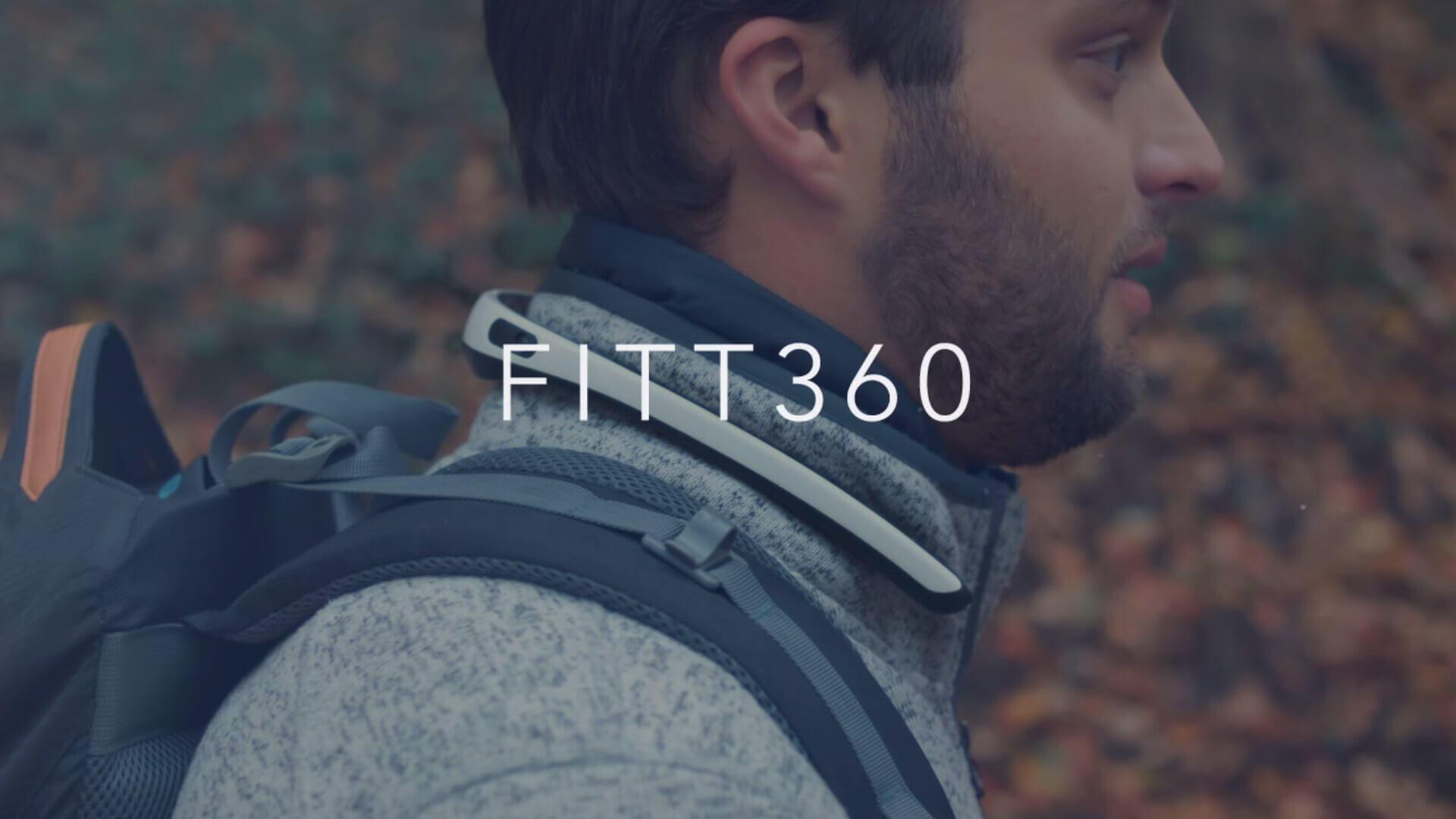 首にかけるU型のウェアラブル360度カメラ:FITT360