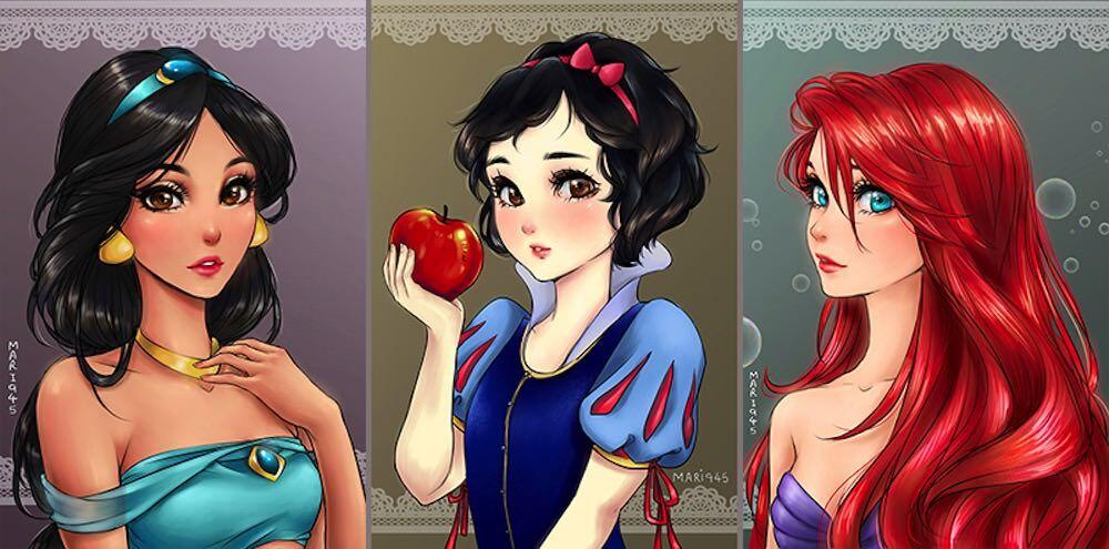 可愛すぎる 漫画調に描かれたディズニープリンセス達
