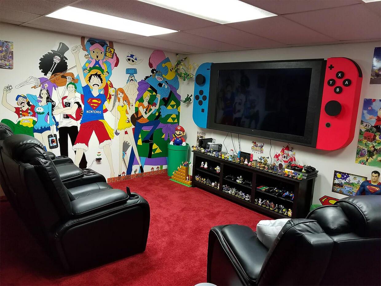 ゲームオタクによって作られたナード部屋Nerdvanaに巨大Nintendo Switch型のTVが・・・